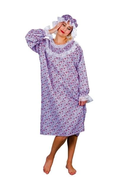 Blümchen-Nachthemd mit Haube