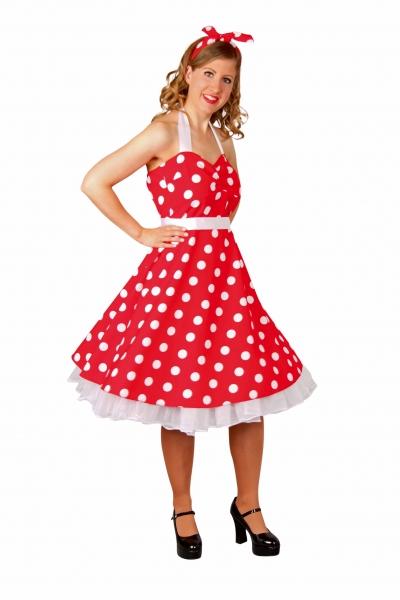 Rockabilly-Kleid, rot/weiße Punkte