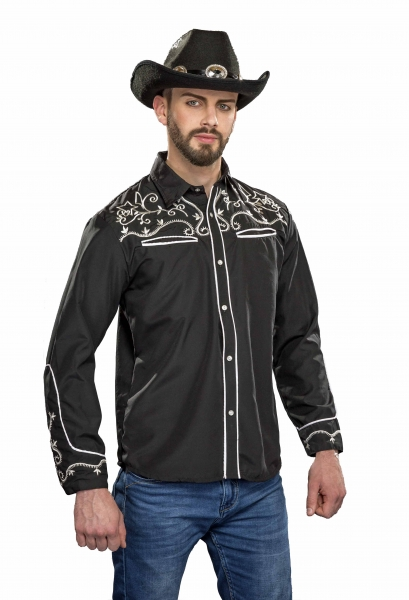 Cowboy Hemd Country Western, schwarz