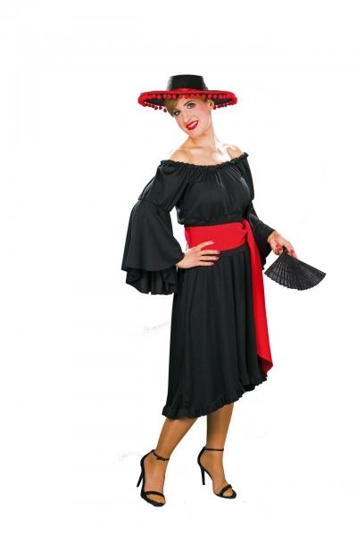 Allzweckkleid Spanierin, Hexe, Teufel, Fee in den Farben schwaz, weiß und rot