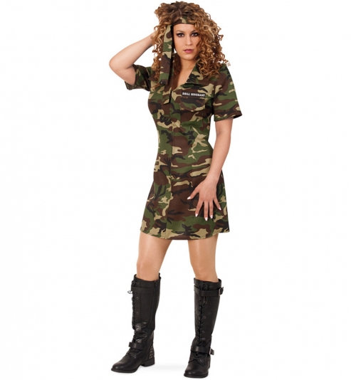 Army Girl Soldatin Camouflage Kleid Militär Uniform