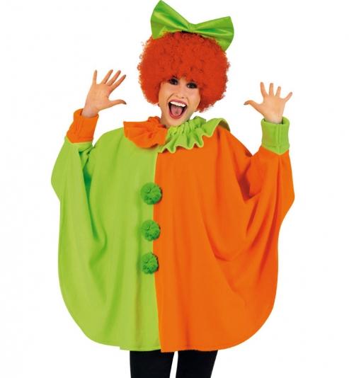 Clown Poncho Neon, 2-farbig, Größe Uni