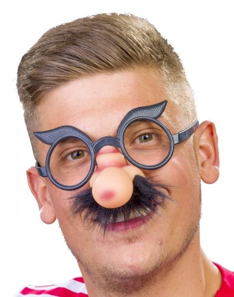 Nase mit Brille und Schnauzbart