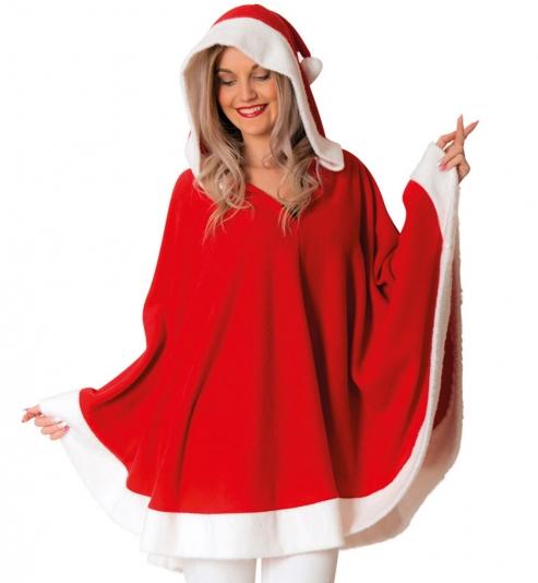 Poncho Nikolaus Weihnachtsfrau mit Kapuze , Größe Uni