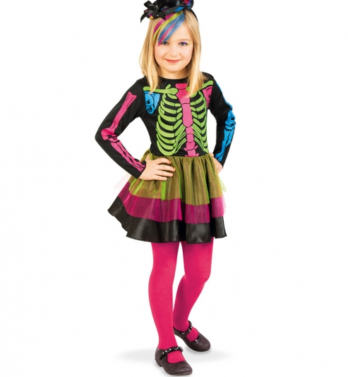 Halloween Kleid Catrina mit Skelettdruck