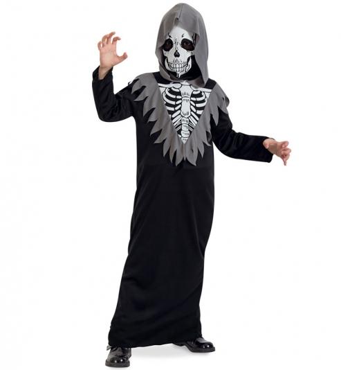 Robe Skelett, 1-tlg. mit Kapuze + Maske