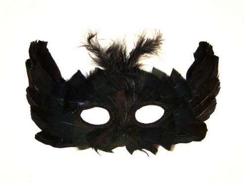 Augenmaske mit echten Federn schwarz