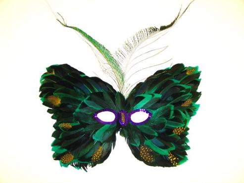 Augenmaske mit echten Federn grün