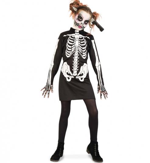 Knochenmädkchen Skelett Kleid
