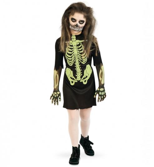 Skelett, Kleid, nachtleuchtend Kinder Halloween-Kostüm