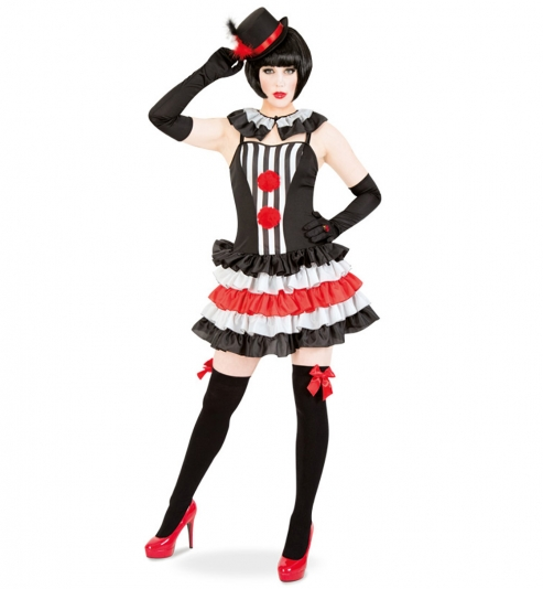 Clown Harlekin Pierette Kleid mit Kragen