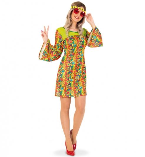 Hippie Flower Power 70er Party Kleid
