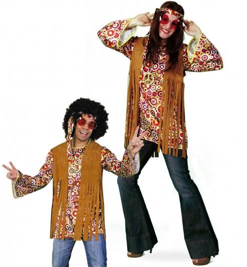 Hippie Flower Power 60er Jahre Kostüm Oberteil mit Stirnband