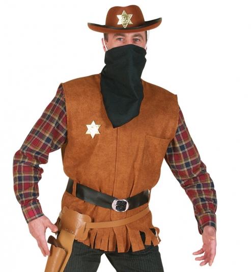 Cowboy Sheriff Weste mit Gürtel + Halstuch