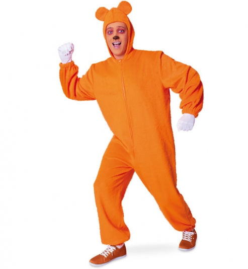 Bärli orange, Overall mit Kapuze