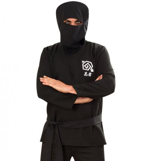 Ninja Kämpfer Oberteil mit Haube + Gürtel