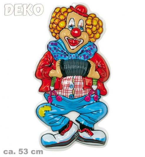Wanddekoration Faschingsdekoration Clown mit Ziehharmonika 53 cm