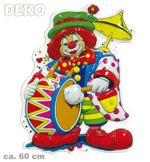Wanddekoration Faschingsdekoration Clown mit Trommel 60 cm