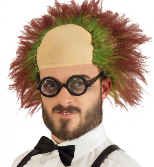 Perücke Clown mit Glatze, rot-grün