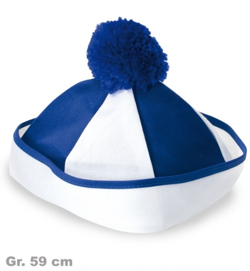 Bobbymütze, blau/weiß, Gr. 59 cm