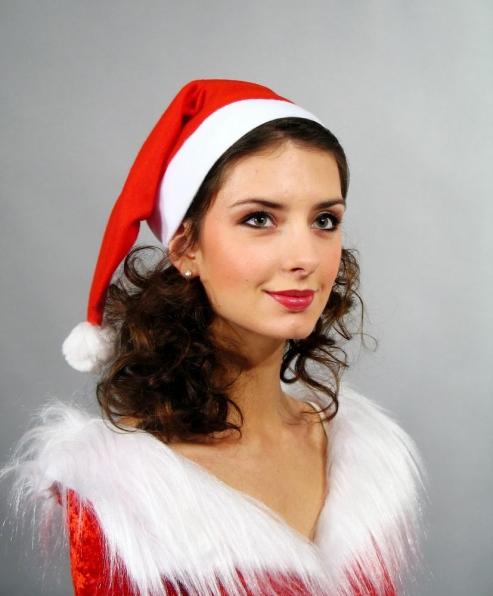 Nikolausmütze Flanell mit Pompon  Weihnachtsmütze