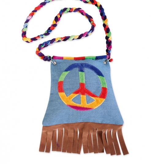 Tasche Hippie, Peace-Zeichen, ca. 20 x 20 cm