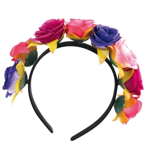 Haarreif Mexikanischer Totentag, Blumen blau-pink-orange-rot