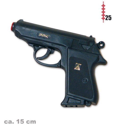 Pistole Polizei, (25er-Streifen Munition), ca. 15 cm Länge