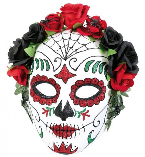 Halbmaske Mexikanischer Totentag, Rosen schwarz-rot