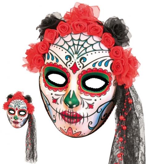 Halbmaske Mexikanischer Totentag, Rosen rot, seitl. Tüll