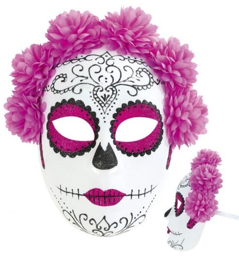 Halbmaske Mexikanischer Totentag, Blumen pink