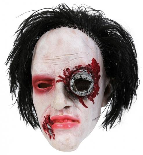 3/4 Maske Horror mit Haaren, Latex
