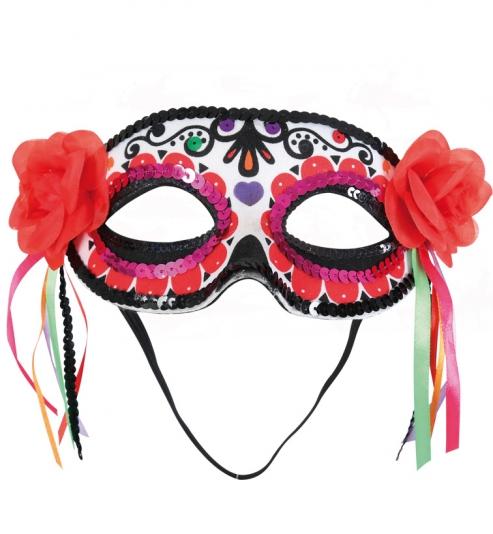 Domino mexikanischer Totentag, mit Blüten + Bändern