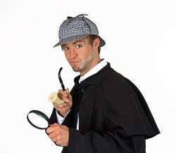 Detektiv Grundausstattung bestehend aus Mütze, Pfeife und Lupe