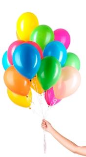 Helium Ballon mit Bändern bunt  im Set 30 Stück