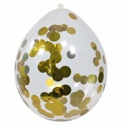Konfetti Ballon gold im Set 4 Stück