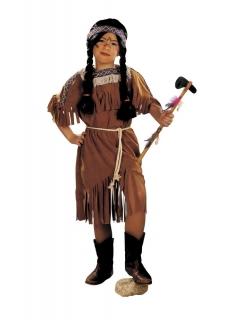 Indianerkostüm Squaw Kleid mit Schulterüberwurf und Kordel