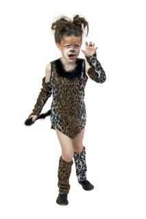 Leopard Wildkatze Kleid mit Arm- und Beinstulpen