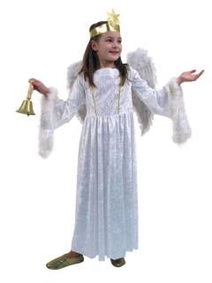 Engelskleid Weihnachtskostüm Engel Gewand mit Marabubesatz