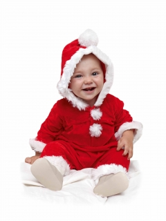 Nikolaus Baby Kostüm Strampler mit angenähter Kapuze
