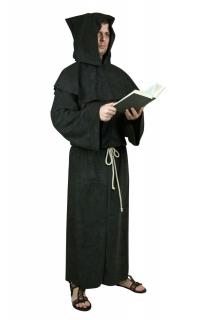 Mönch Kutte Gewand mit Kapuze, Pellerine und Kordel schwarz
