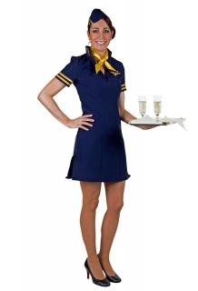 Stewardess Flugbegleiterin Kleid mit Kappe und Halstuch