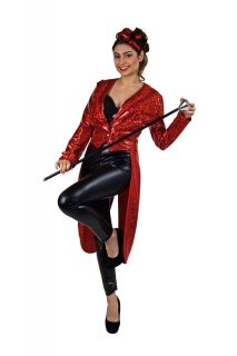 Damen Frack Glitzer Glamour Show rot