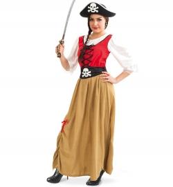 Piratin Kostüm Kleid mit Totenkopf Gürtel
