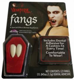 Vampirzähne für Profis 1 Paar  im Sarg mit Haftmasse