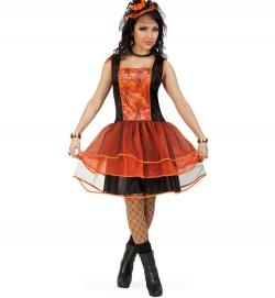 Hexenkleid mit Tüllrock orange