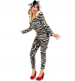 Zebra Tierkostüm Overall mit Kapuze