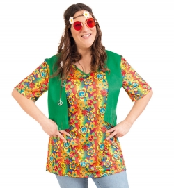 Hippie Shirt mit Westenoptik Flower Power 70er Jahre Party