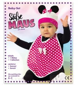 Maus Set für Babys Lätzchen und Mütze  Größe 86