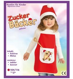 Backschürze Zuckerbäcker Schürze und Mütze Kinder Nikolaus-Kostüm Größe 104-116